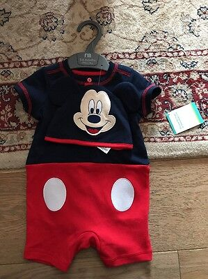 Mothercare Baby Grow With Cap 3-6months Micky Mouse Design