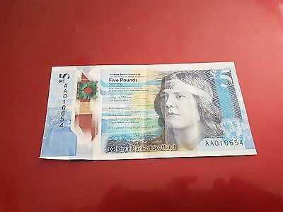 scottish 5 pound note AA01 Serial number