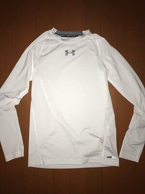 Boys Under Armour Heat Gear Fitted White Long Sleeve Athletic Shirt UPF 30+ YMD