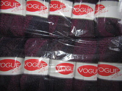 KNITTING WOOL & YARN  10 x 100g  VOUGE WITH LOVE - PURPLE, BROWN & BLACK