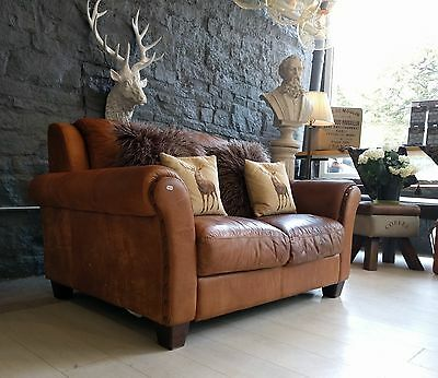 2042 Chesterfield Leather vintage distressed 2 Seater Sofa tan brown Courier av