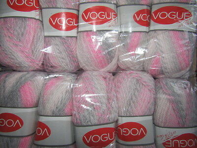 KNITTING WOOL & YARN  10 x 100g  VOUGE WITH LOVE  CHUNKY - PINK, GREY & WHITE