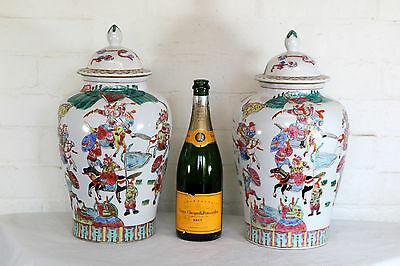 A Pair of large Vintage Chinese Temple Vases Antique Style