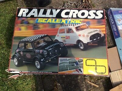 Late 1980's vintage Mini Scalextric Rally Cross complete set working grass track
