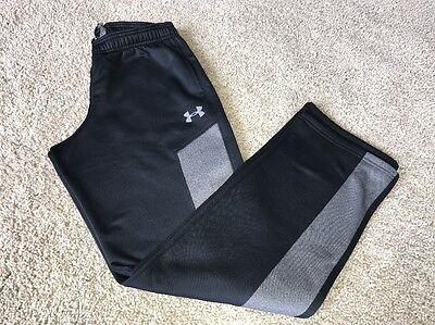 Boys Under Armour Storm Athletic Sweat Pants Size Youth Xlarge Black Gray