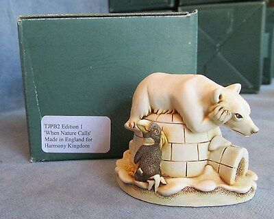 """Harmony Kingdom """"When Nature Calls"""" Box w/ Papers #TJPB2 Retired 1998 Edition 1"""