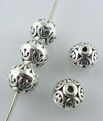20pcs Round Antique Silver Charms Spacer Beads 6.5*7mm Jewelry Making Beading