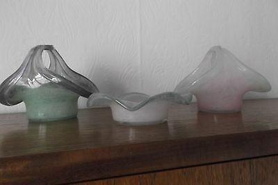 3 SMALL SIGNED VASART GLASS ITEMS - 2 BASKETS - 1 DISH (pinks & greens)