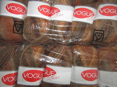 KNITTING WOOL & YARN  10 x 100g  VOUGE WITH LOVE - MULTI BROWN