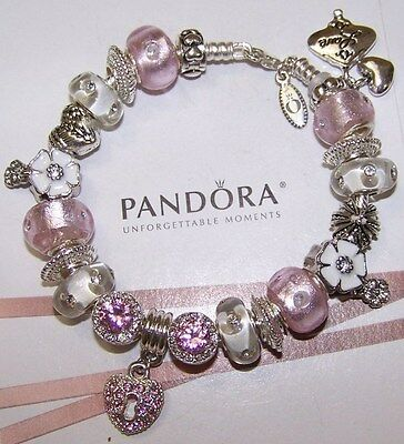 Authentic Pandora Sterling Silver Bracelet Pink Heart Love European Charms New~