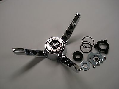 1965-1966 Ford Mustang Steering Wheel 3 spoke Horn ring button Kit, Made in USA