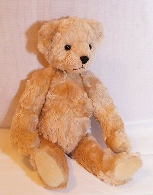 Mohair Teddy Bear, Pale tan 14 inches Signed By Ruth