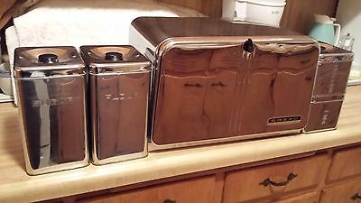Vintage LINCOLN BEAUTYWARE CHROME METAL BREAD BOX W/ PIE SHELF & 4 CANISTER SET