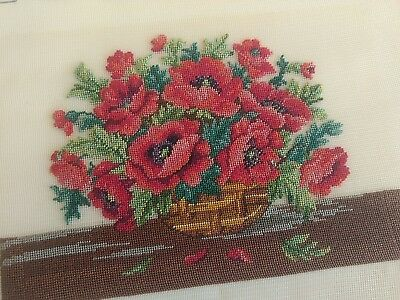 Vintage needlepoint completed, flowers in vase unframed, 8x6""
