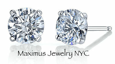 Diamond Round Natural Solitaire Cut Push Back Stud Earrings 14K White Gold .50Ct