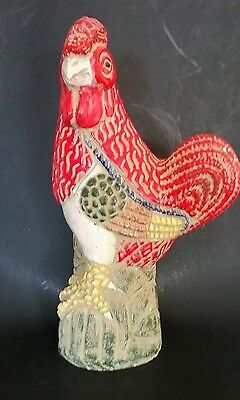 "Italian? Large Rooster Sculpture  Mid-Century   16""  Hand Painted"