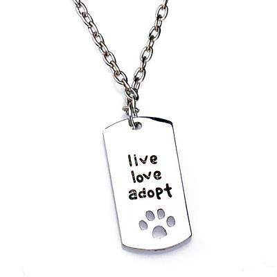 Fashion Paws Live Love Adopt Silver Chain Charms Pendant Necklace Women Men Gift