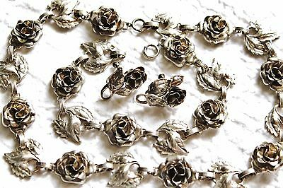 1940s carved STERLING Silver FLORAL Choker NECKLACE Bracelet & Earrings SET 95g