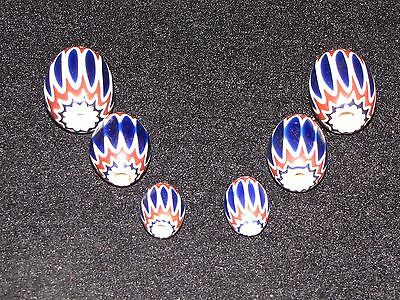 SIX Vintage Six Layer Chevron World Trade Beads
