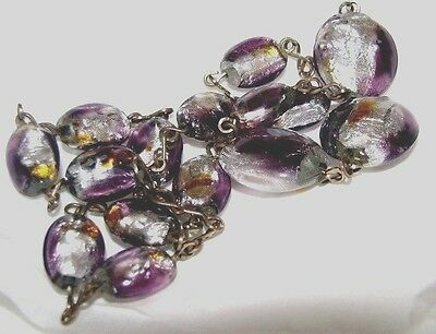 Vintage Art Deco Silver and Lilac Foil Lampwork Glass Bead Necklace