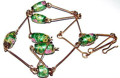 Vintage Art Deco Green Foil Lampwork Glass Bead + Wire Necklace lavalier