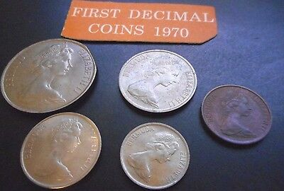 Uncirculated 1st Bermuda Decimal Coins Set from 1970