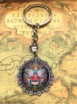 Hot Tibetan silver  flower Skull Cabochon Glass Pendant Metal Key Ring New3