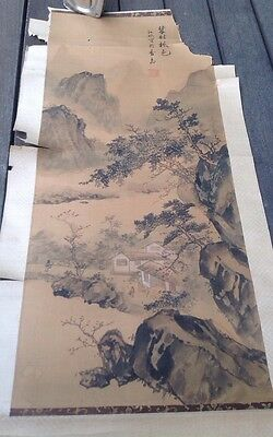 Chinese Scroll Painting Signed Stamped Mountains Houses Landscape Man