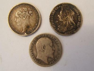 1881 1900 1902 Queen Victoria Edward VII SILVER coins THREEPENCE 3D (3)