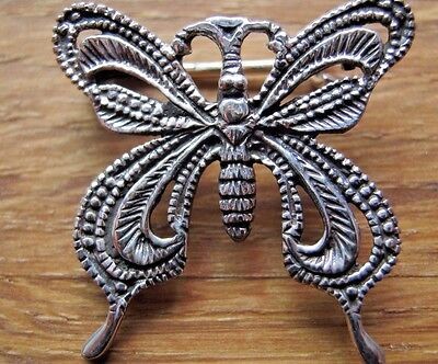 A Beautiful Solid Silver Butterfly Brooch - Art Deco or Nouveau Style