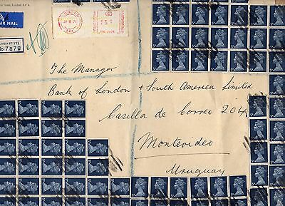 GB UK IMPRESSIVE REGISTERED AIR MAIL FRONT COVER W/ X94 5d PHOSPHOR BAND MACHIN