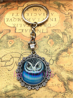 Hot Tibetan silver  Owl Cabochon Glass Pendant Metal Key Ring New3