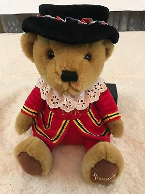 "Harrods Knightsbridge 11"" Beefeater Stuffed Sitting Bear Royal Guard Plush"