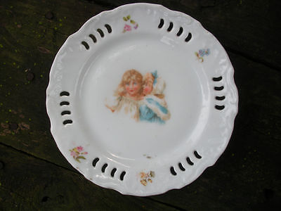 Childs Antique TransferWare Plate with Reticulated Edge - Telling Secrets