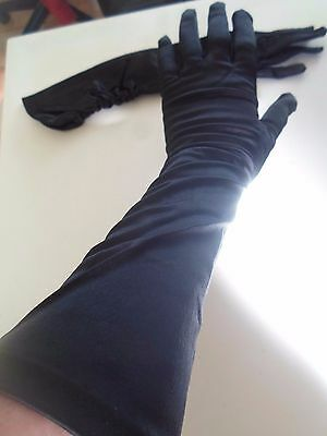 Vintage Black Ruched Cuff Opera Gloves Size Approx: 6.5 Retro Accessory
