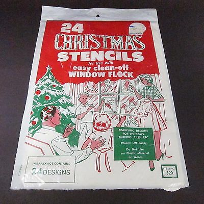 Vintage Christmas Stencils NOS in Package Window Flock 24 Designs Retro Holiday