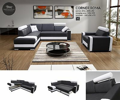 Roma - FAUX LEATHER OR FABRIC New Corner Sofa Bed, Sleep Function