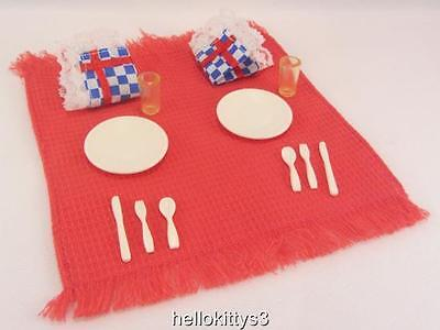 Barbie Friends Diorama Picnic Set for 2 .. Blanket Tablecloth Napkins Dishes