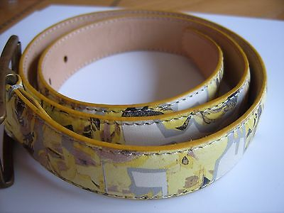 Paul Smith ladies Yellow floral Italian leather belt size S