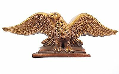 Antique Carved Wooden Eagle Bellamy Style Folk Art Gold Gilt Miniature Desk Size