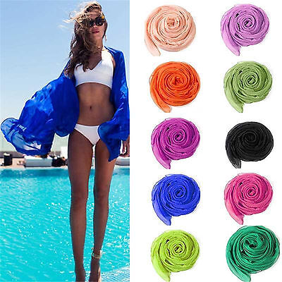 Best Beauty Chiffon Wrap Dress Sarong Pareo Beach Bikini Swimwear Cover Up Scarf