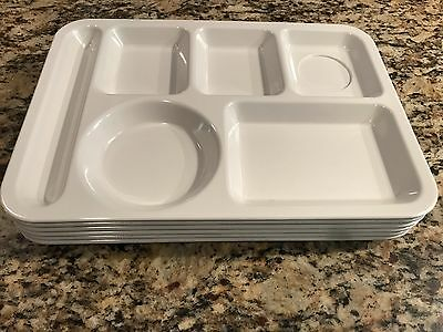 """6 Vintage Texas Ware Melmac Melamine White Lunch Tray Cafeteria Buffet 10"""" x 14"""""""