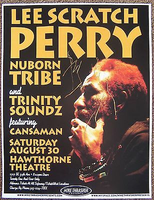 Signed LEE SCRATCH PERRY Gig POSTER In-Person w/proof Concert Autograph