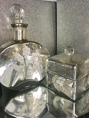 CHIC Pair Of Mercury Glass  Etched decanter /Bottle & Trinket By Cimc New