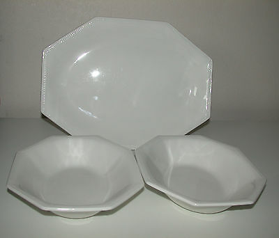 Johnson Brothers Heritage White Lg Serving Plate & 2 Open Vegetable  Dishes