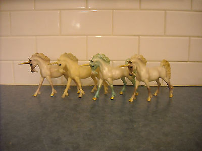 Lot Breyer 4 Unicorn Figurines White Pearlescent Green Lavender Fantasy Paddock