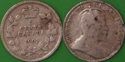 1902 Canada Silver Large H 5 Cents Graded as Good