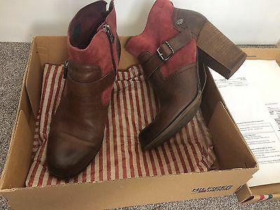 Tommy Hilfiger Brown Women Real Leather Block Heels Ankle Shoes Boots 6 UK 39 EU