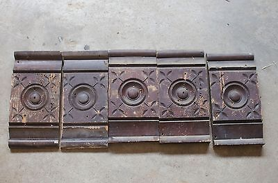 5 Old Antique Bullseye Salvaged Rosette Wood Door Plinth Blocks  Architectural