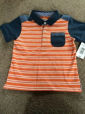 Boys 18-24months NEW White Stripe With Denim & Navy Detail CollaredTshirt